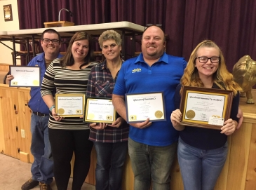 Josh Wills (sponsor) with New Member Courtney Wills, and New Member Tracy Perrin with Jim Summers (sponsor) and New Student Member Mackey Summers at their Invocation Ceremony October 16 2017