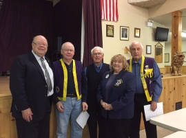 Regional Chair Lions Club Derryl Wood, presented pin and certificates for 25 yrs service to Bill Hamilton, for 15 yr service to Lea Hoover, for 15 yr service to Joe Donovan, and for 10 yr service to Keith Haskins. In attendance with Zone Chair Lion Dianne Delaney